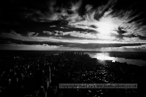 landscape photographer black and white view over lower Manhattan New York City USA