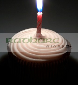 small cake with one candle