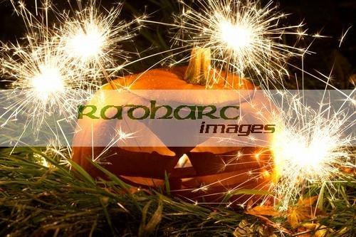 illuminated halloween pumpkin jack-o-lantern with sparklers