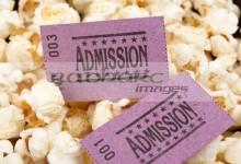 cinema entrance tickets and popcorn