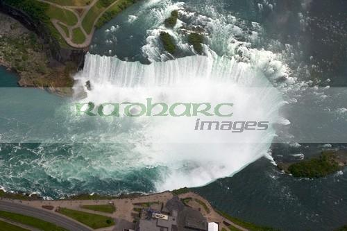 aerial view of the horseshoe falls from helicopter flight over niagara falls ontario canada