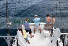 tourists on a charter fishing boat in the gulf of mexico out of key west florida usa