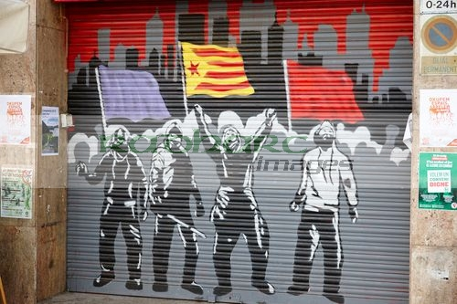 catalonian separatist grafitti on shop shutter Barcelona Catalonia Spain